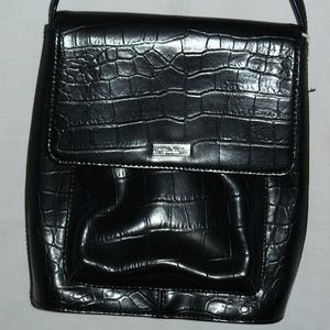 Nine West Bags - Nine West Black Faux Crocodile Cross-Body Purse